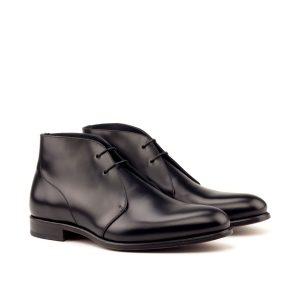 Hand polished black calfskin Chukka boot