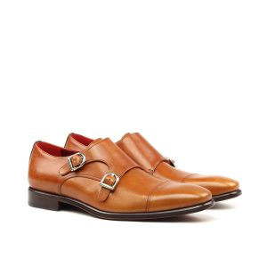 Hand polished cognac box calf double monks