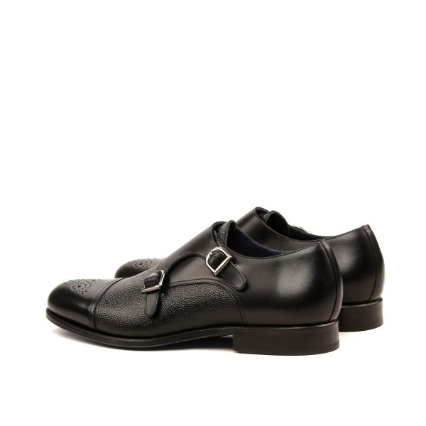 Hand brushed black and croco box calf double monks