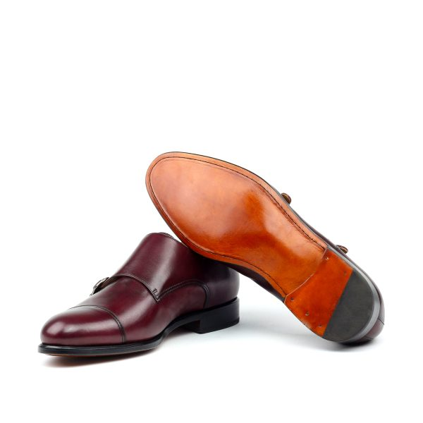 Burgundy hand polished box calf double monks