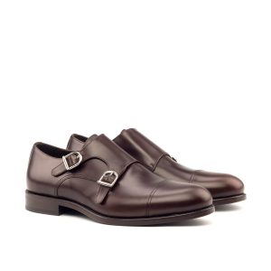 Chocolate brown hand polished box calf double monks