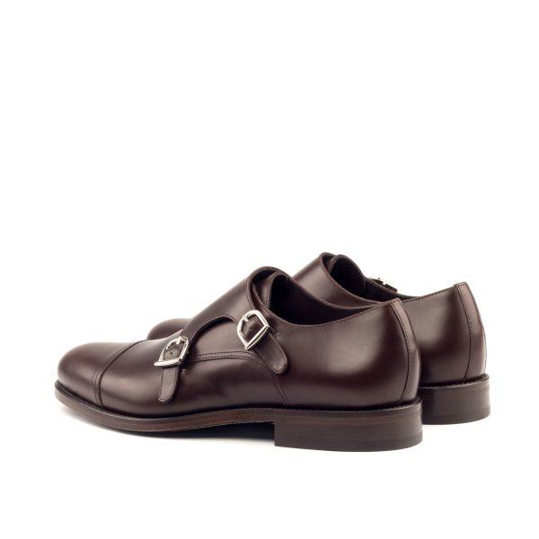 Chocolate brown hand polished box calf double monks