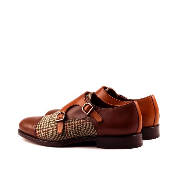 Double monk strap in box calf and tweed
