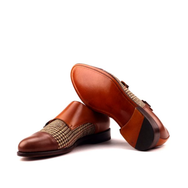 Zapato Monkstrap BIEL doble hebilla en boxcalf marrón y tweed