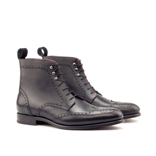hand painted box calf wingtip boots