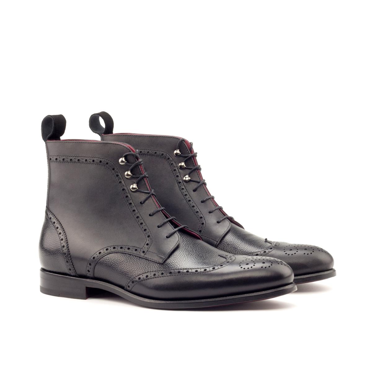 Black box calf wingtip boots