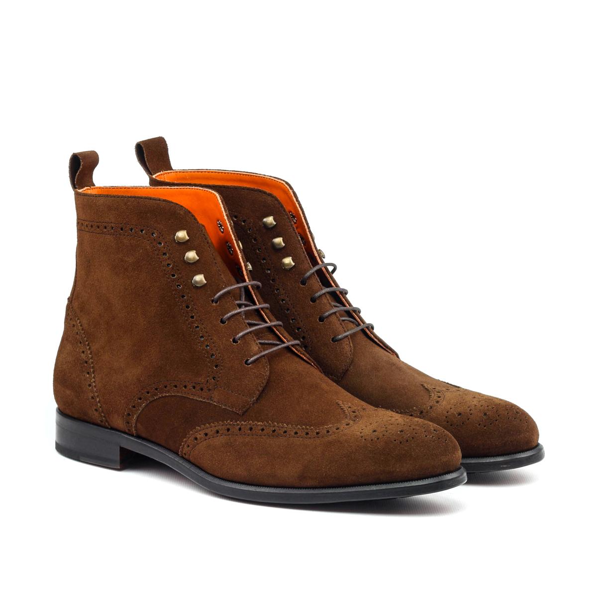 Brown suede wingtip boots