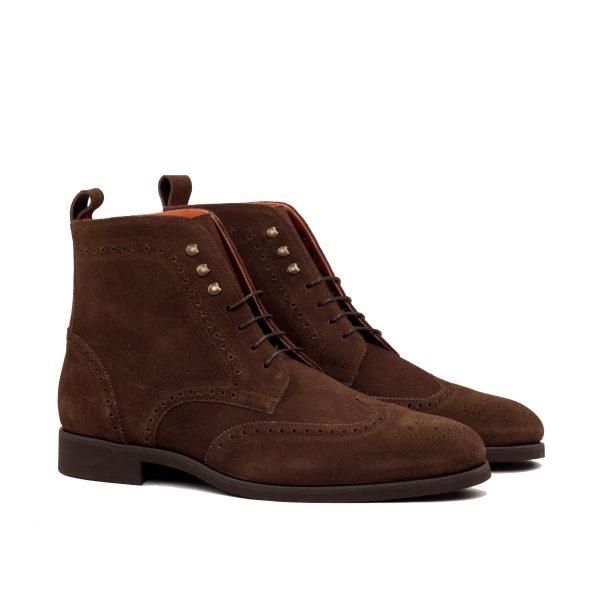 Dark brown lux suede wingtip boots