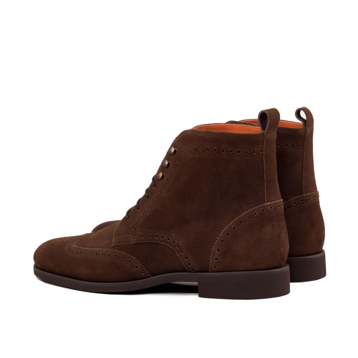 Dark brown suede wingtip boots