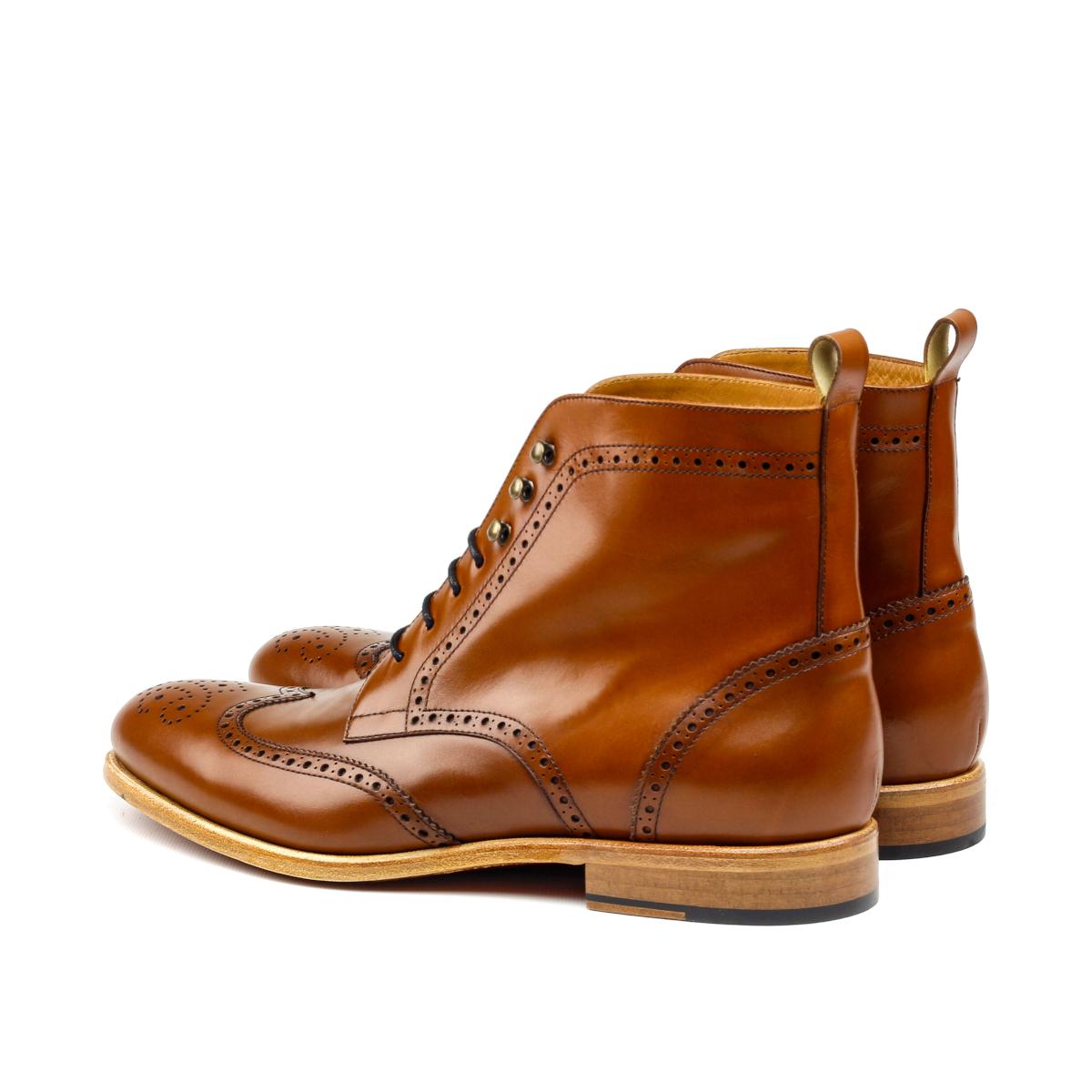 Cognac box calf wingtip boots