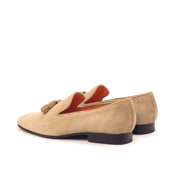 Beige lux suede slipper with suede tassels