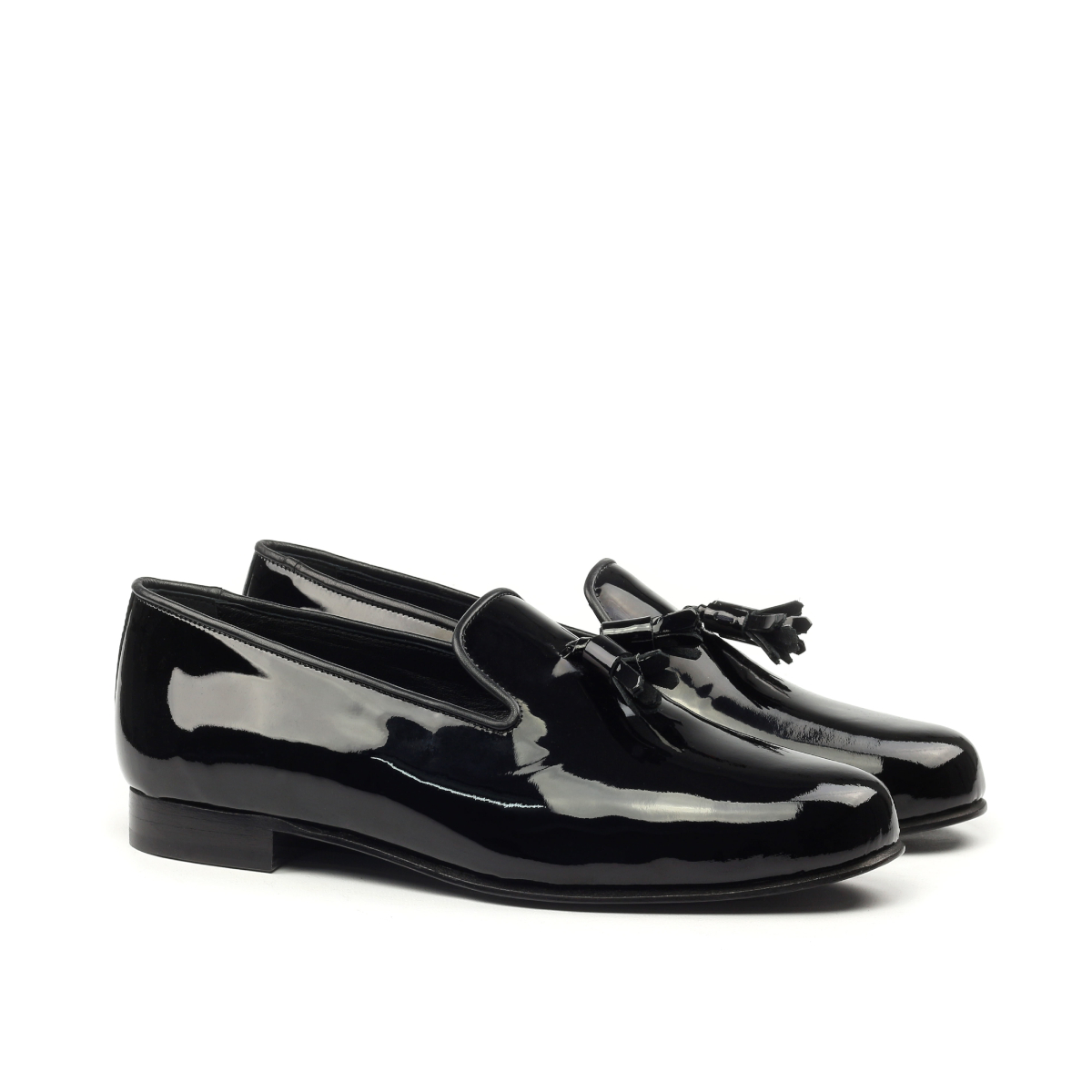 Black patent slippers