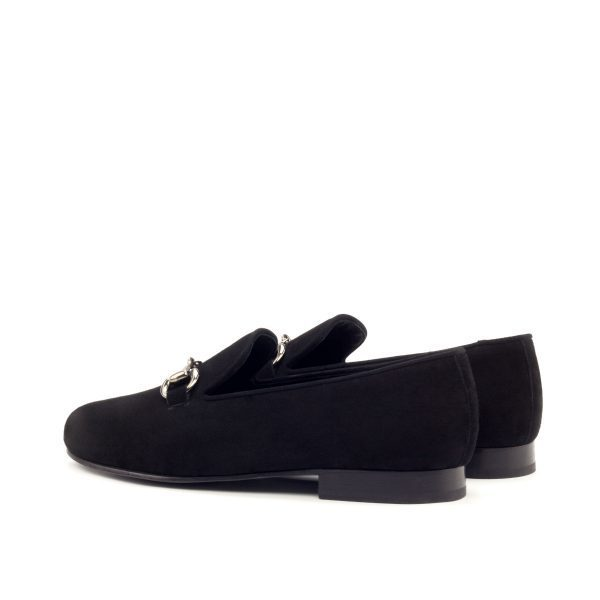 Black lux suede slippers with metal bit