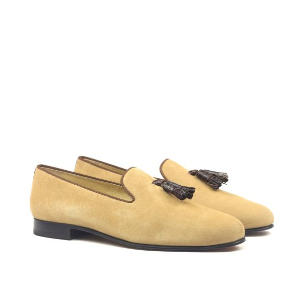 Camel suede slippers with brown croco box calf tassels
