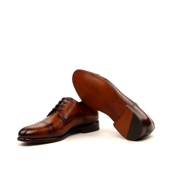 Cognac hand painted patina calfskin cap toe Derby