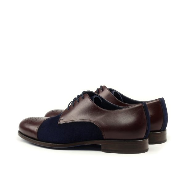 Punched cap toe Derby in box calf and suede
