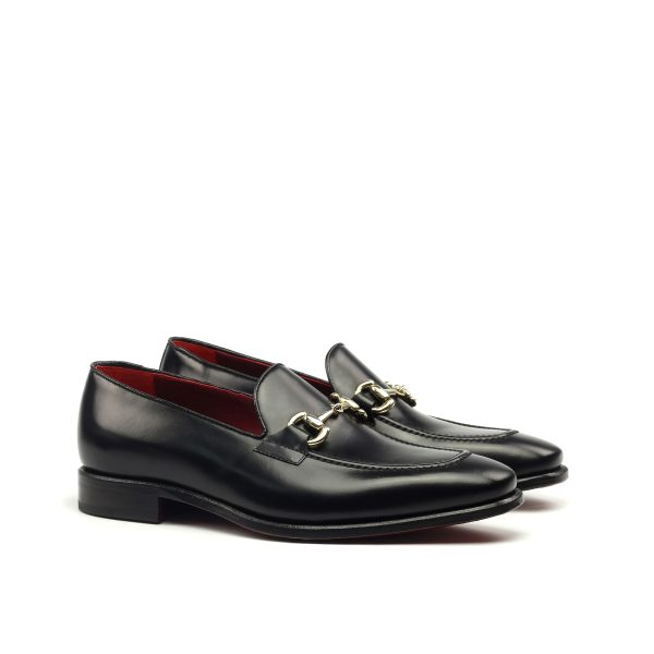 Black box calf horsebit loafer with tassels