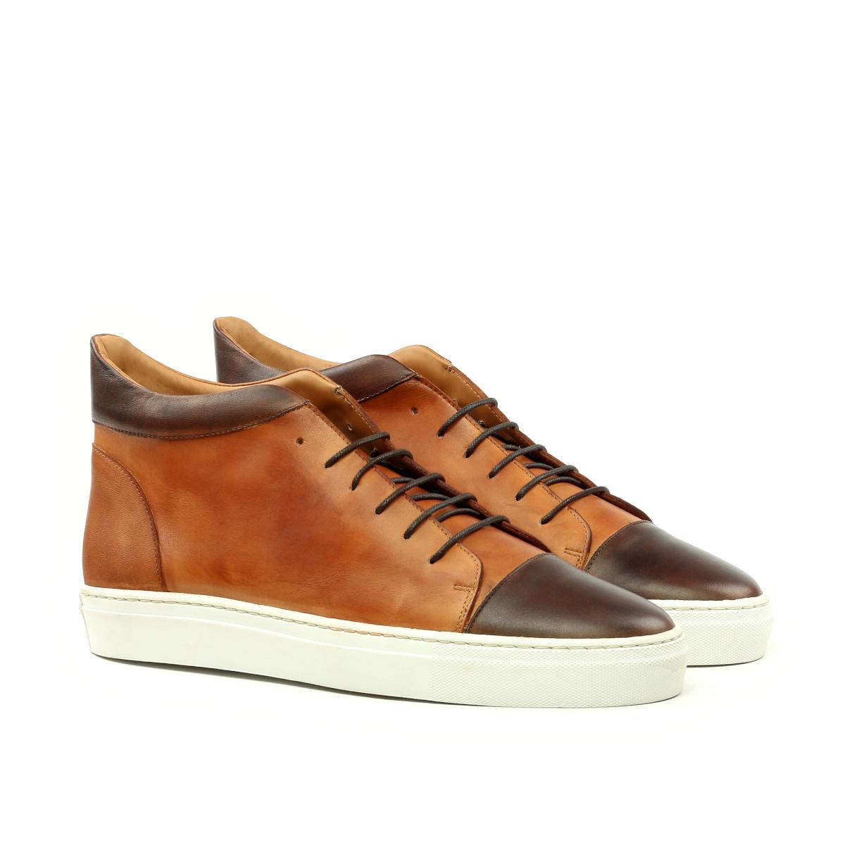 Brown box calf high top sneakers