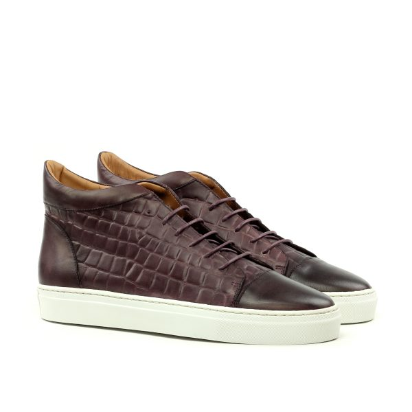 Sneaker high top en boxcalf y faux-croco boxcalf