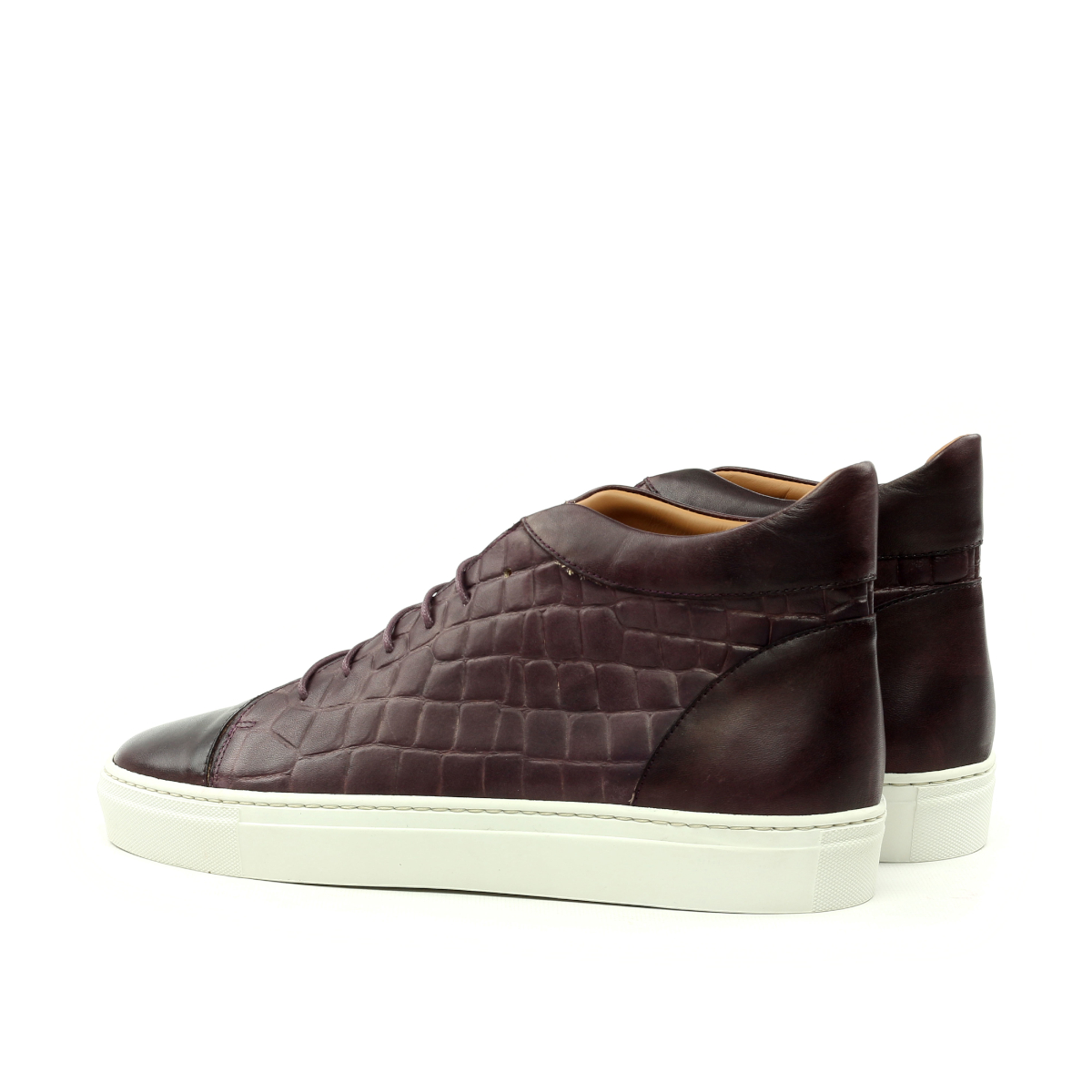 Brown box calf and faux-croco high-top sneakers