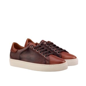 Sneaker con cordones en boxcalf marrón