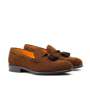 Tassel loafer in brown suede