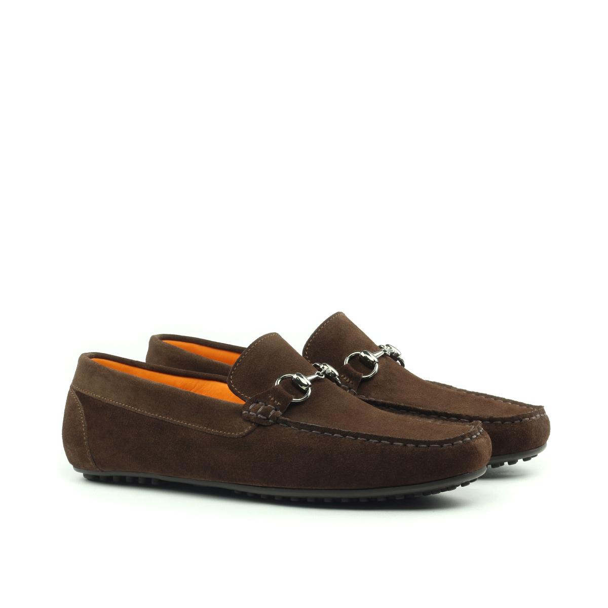 Brown suede tassel loafer with suede tassels