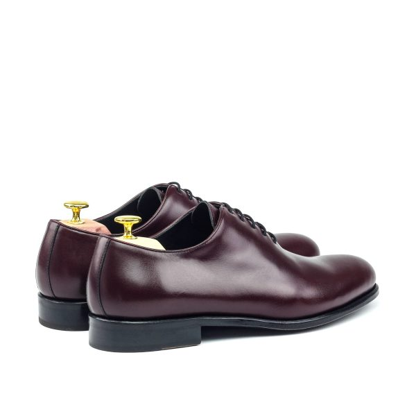 Burgundy hand-brushed calfskin wholecut oxford shoes for man