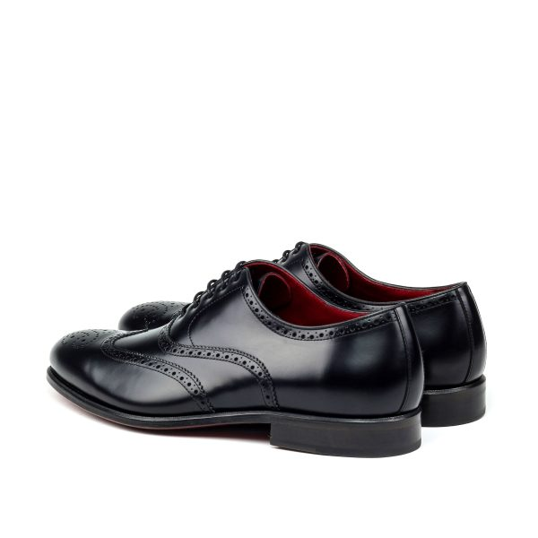 Hand polished black calfskin full brogue Oxfords