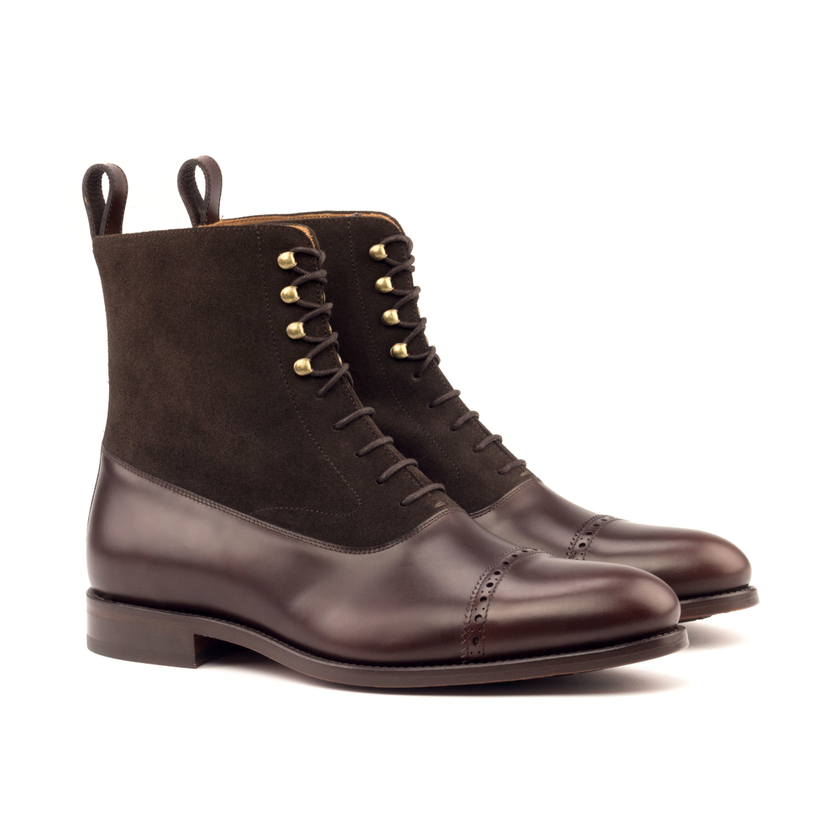 Brown suede and box calf Balmoral boot