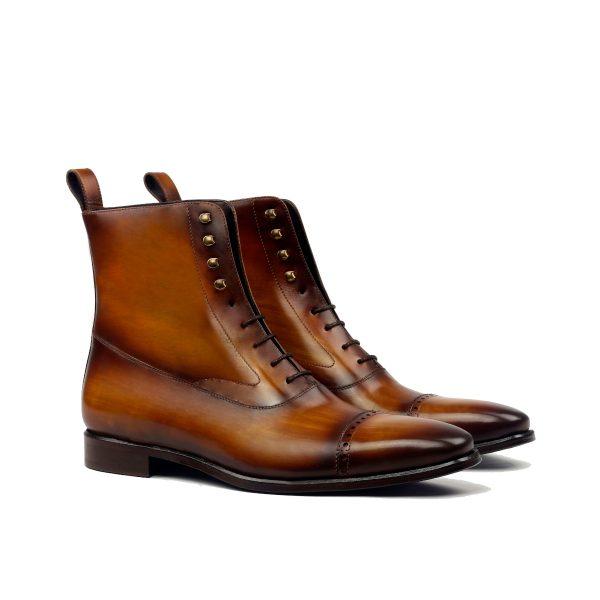 Cognac hand painted crust patina Balmoral boot