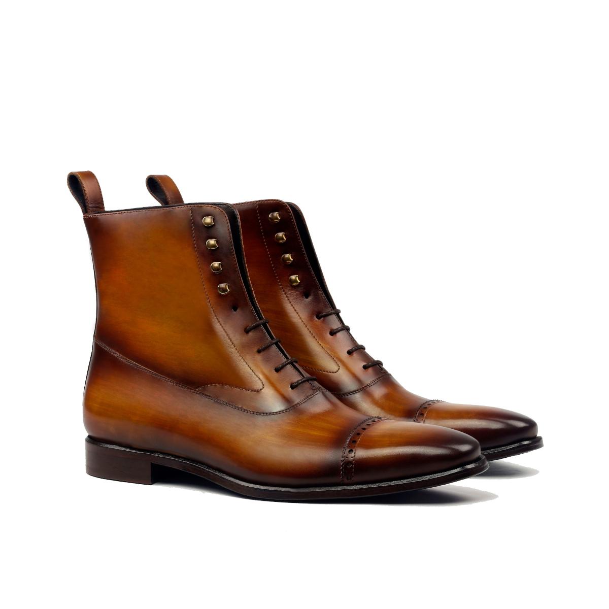 Cognac crust patina Balmoral boot