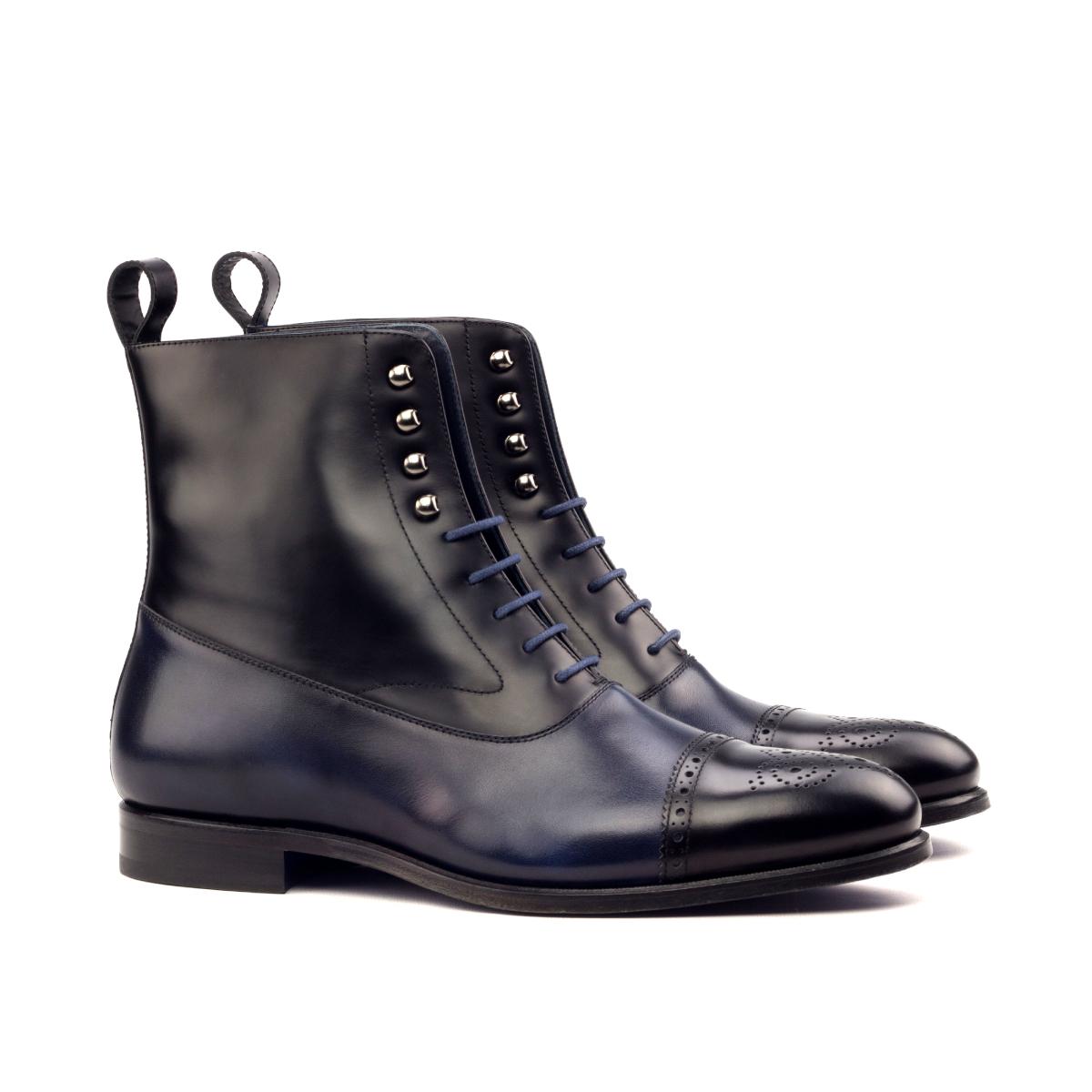 Blue and black box calf Balmoral boot
