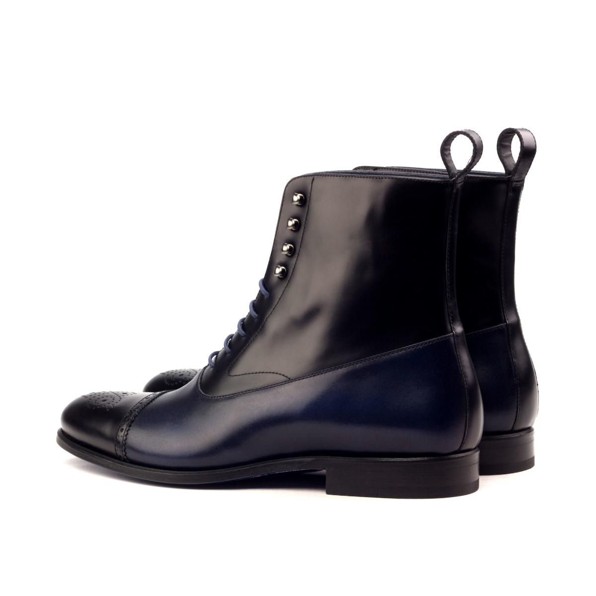 229a35493eb0e7 Blue and black box calf Balmoral boot - Cambrillón Bespoke Leather