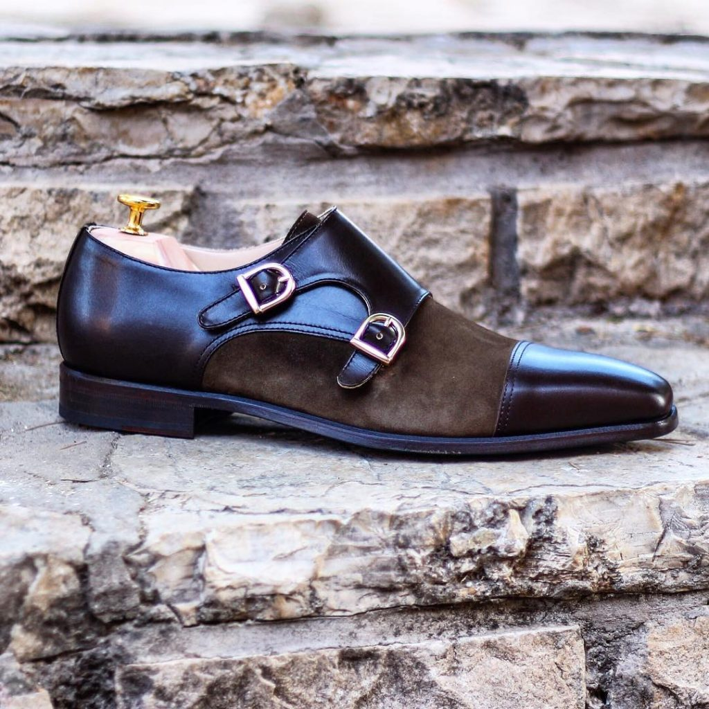 Monkstrap doble hebilla en ante y boxcalf marrón