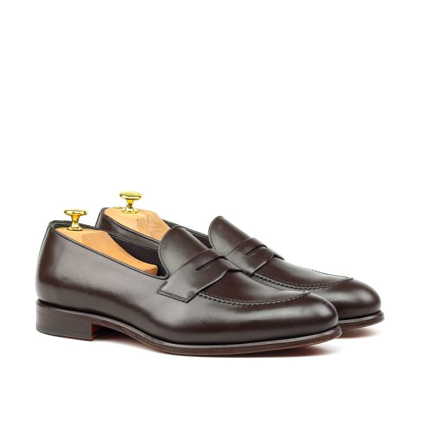 Chocolate brown box calf penny loafer