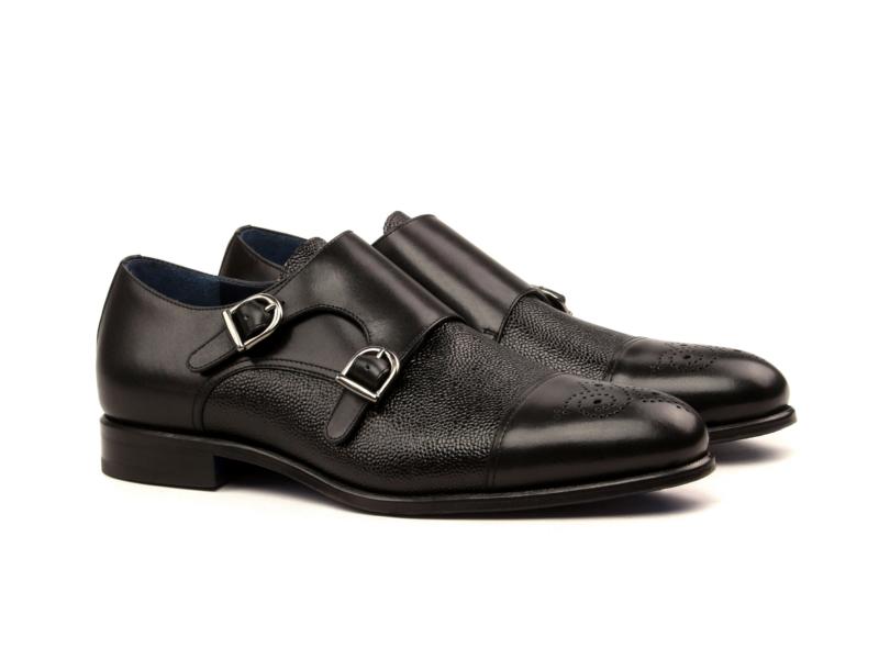 Bespoke black Monkstrap shoes for men Cambrillon