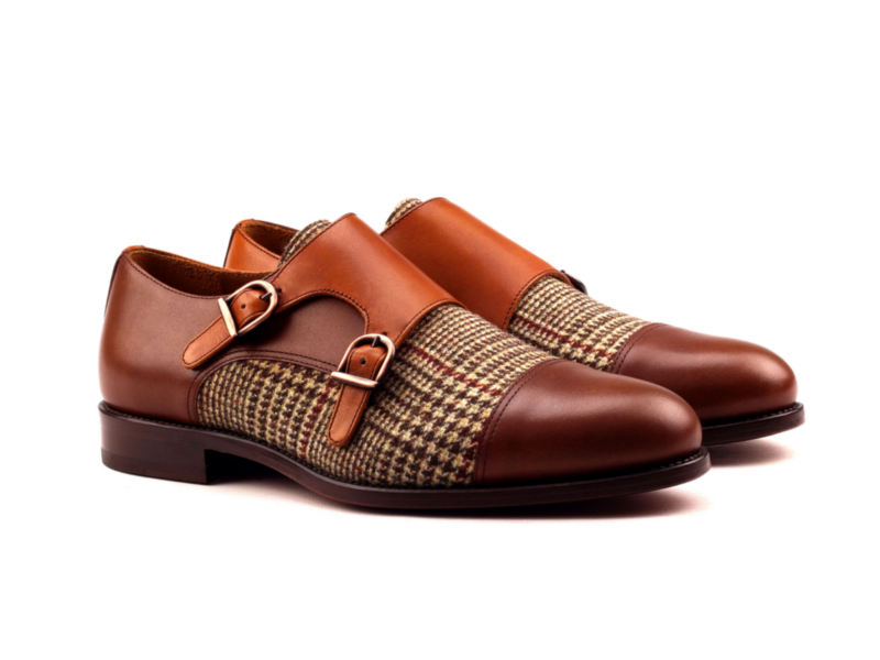 Monkstrap box calf and tweed double monks