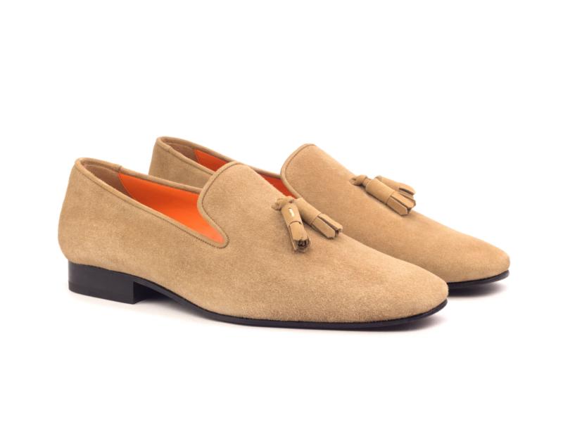 Beige Velvet Slippers for men by Cambrillon