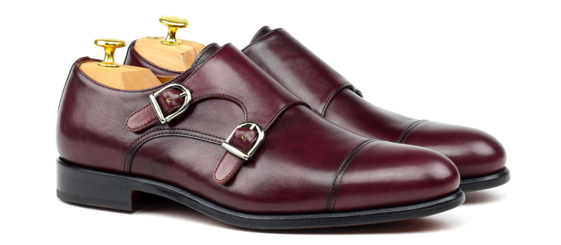 Monkstrap BIEL dos hebillas en boxcalf burgundy Cambrillon