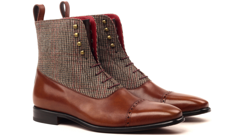 Bota Balmoral VICTOR tweed y boxcalf marron_1-6