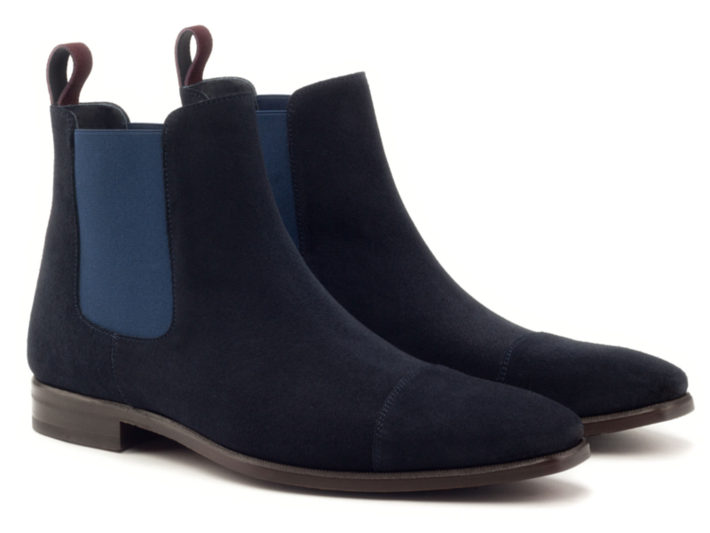Chelsea boots in navy blue suede for men Cambrillon