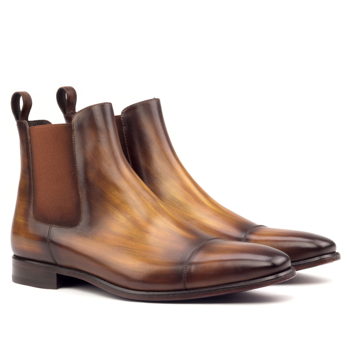 Brown crust patina Chelsea boot