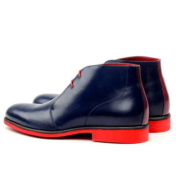 Bespoke Chukka boots for men in navy blue box calf Cambrillon