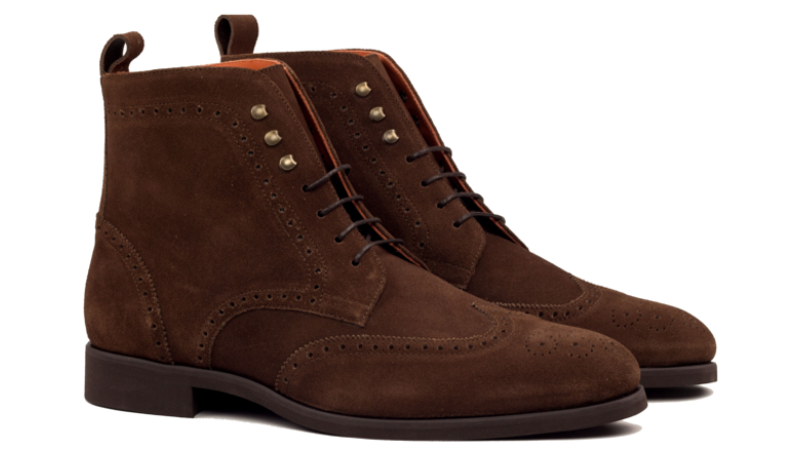 Bespoke Wingtip boot for men in dark brown suede Cambrillon