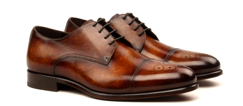 Derby cognac hand painted patina Cambrillon