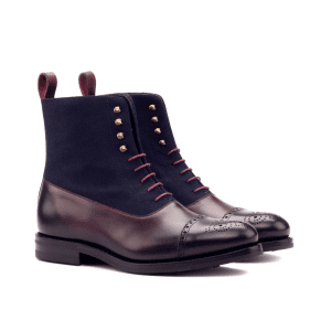 Balmoral Boot Goodyear Welted - Dark Burnishing - Painted Calf Burgundy - Flannel Navy