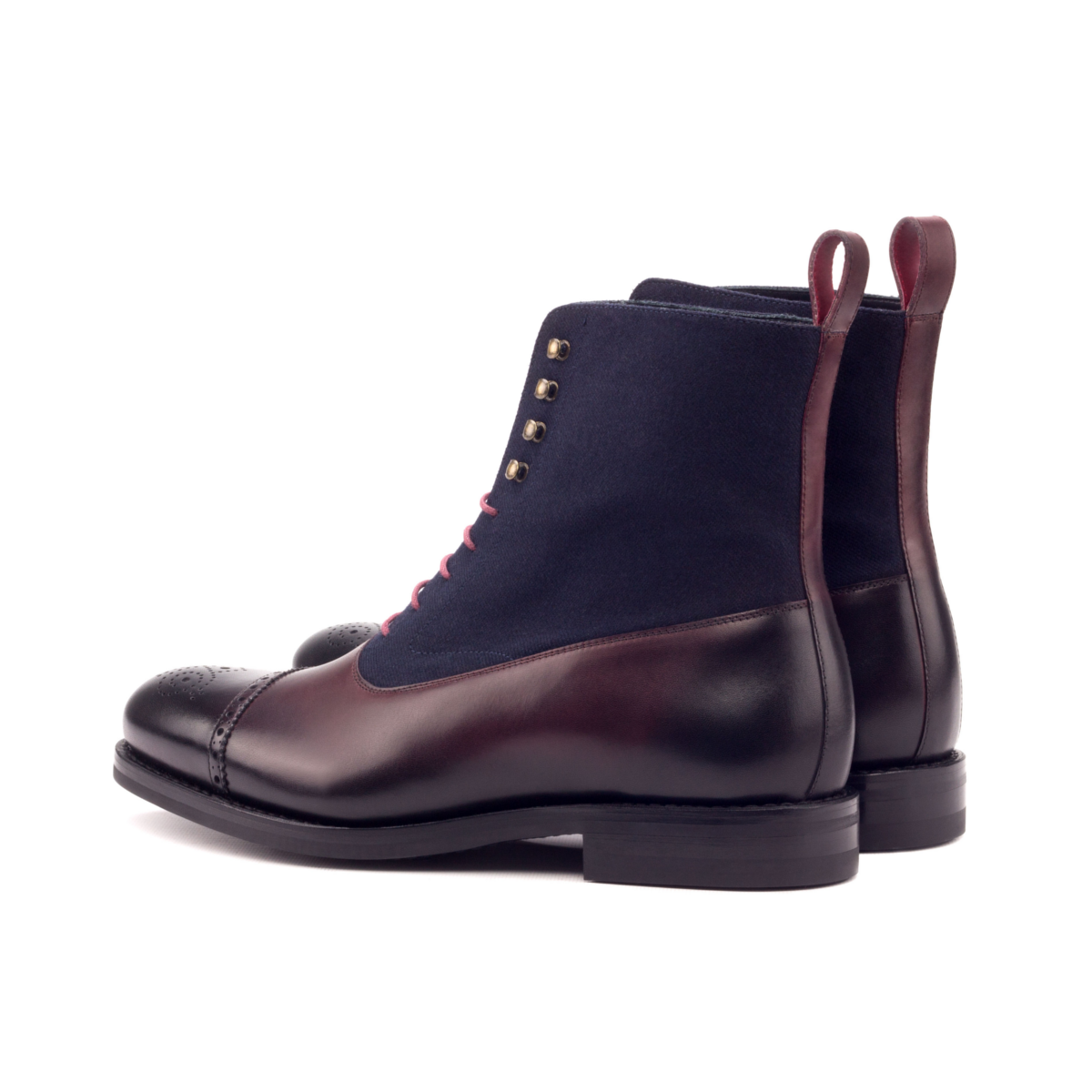 Balmoral boot painted calf brown and suede