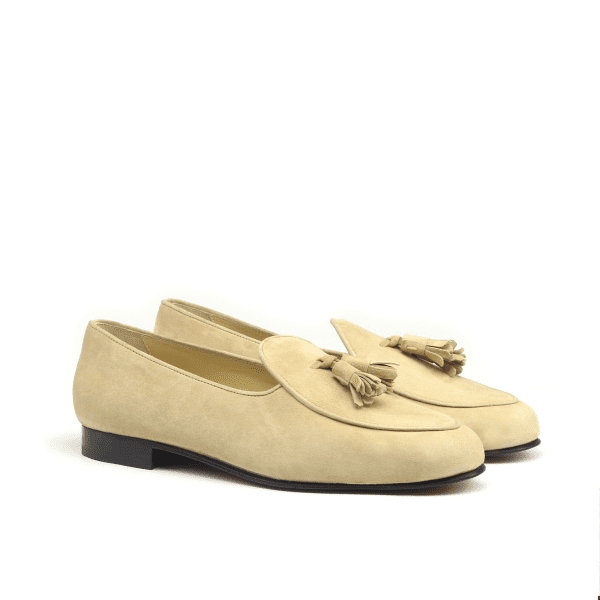 Belgian slipper taupe suede