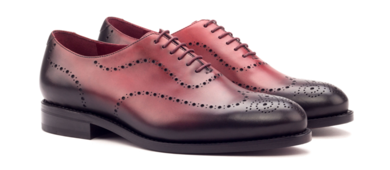 Oxford whole cut burnishing painted calf red